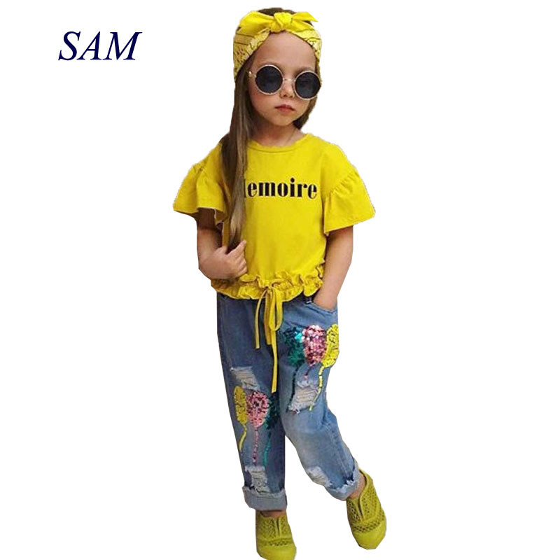Children's Clothing Sets for Girls Fashion 2019 New Style Girls Letter T-shirt + Sequin jeans Pants + Headband 3pcs suit clothes
