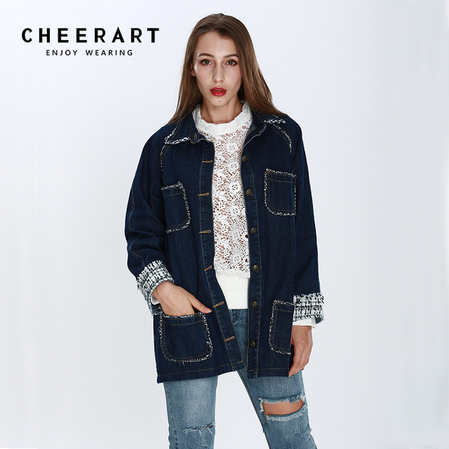 Cheerart Femmes Survêtement Hiver Street Automne Denim High Marques Bleu Jeans Longue Manteaux Et Veste Vestes UTqrUZ