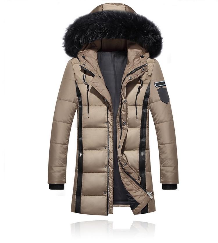 Pogrubienie parki mężczyźni 2018 kurtka zimowa męska płaszcze męskie odzież wierzchnia futro kołnierz na co dzień długie bawełniane watowane mężczyźni płaszcz z kapturem w Kurtki puchowe od Odzież męska na  Grupa 1
