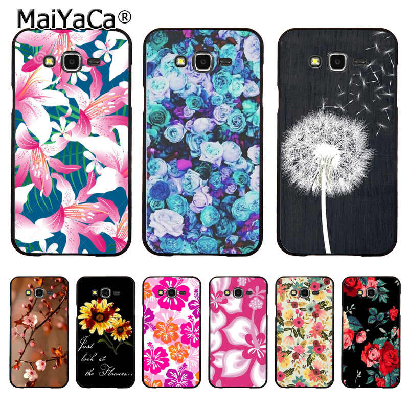 MaiYaCa الهندباء على الخشب الأسود الوردي زهرة لطيف قضية الهاتف لسامسونج j7 j6plus j8 j2prime j4 a7 A8 A6S A30 A50 كيس كوكه