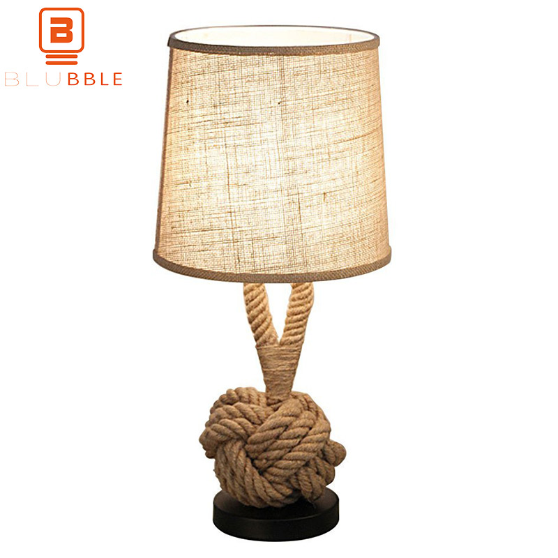 BLUBBLE Retro Hemp Rope Modern Table Lamp American Originality Bedroom Desk Lamp AC 90-260V LED Bulbs Bar Coffee Bedside Lamp north european style retro minimalist modern industrial wood desk lamp bedroom study desk lamp bedside lamp