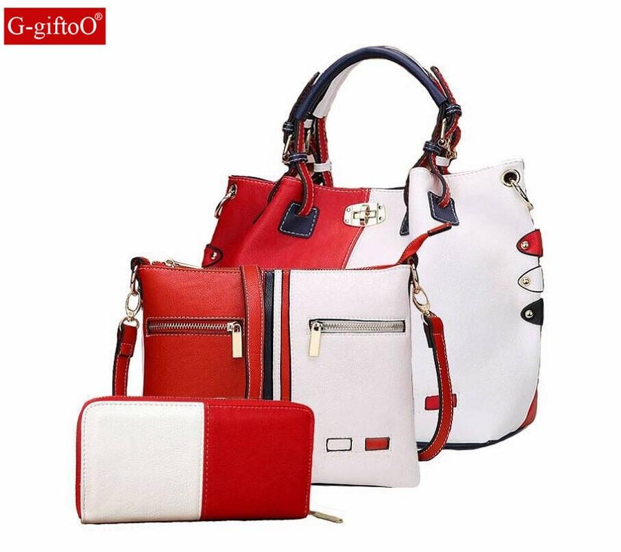 High Quality PU Leather Women Bags 3pcs Set Women Handbags Purse Cultch Composite Messenger bag Leisure Tote Sac kuluosidi 3 pcs set women tote bag high