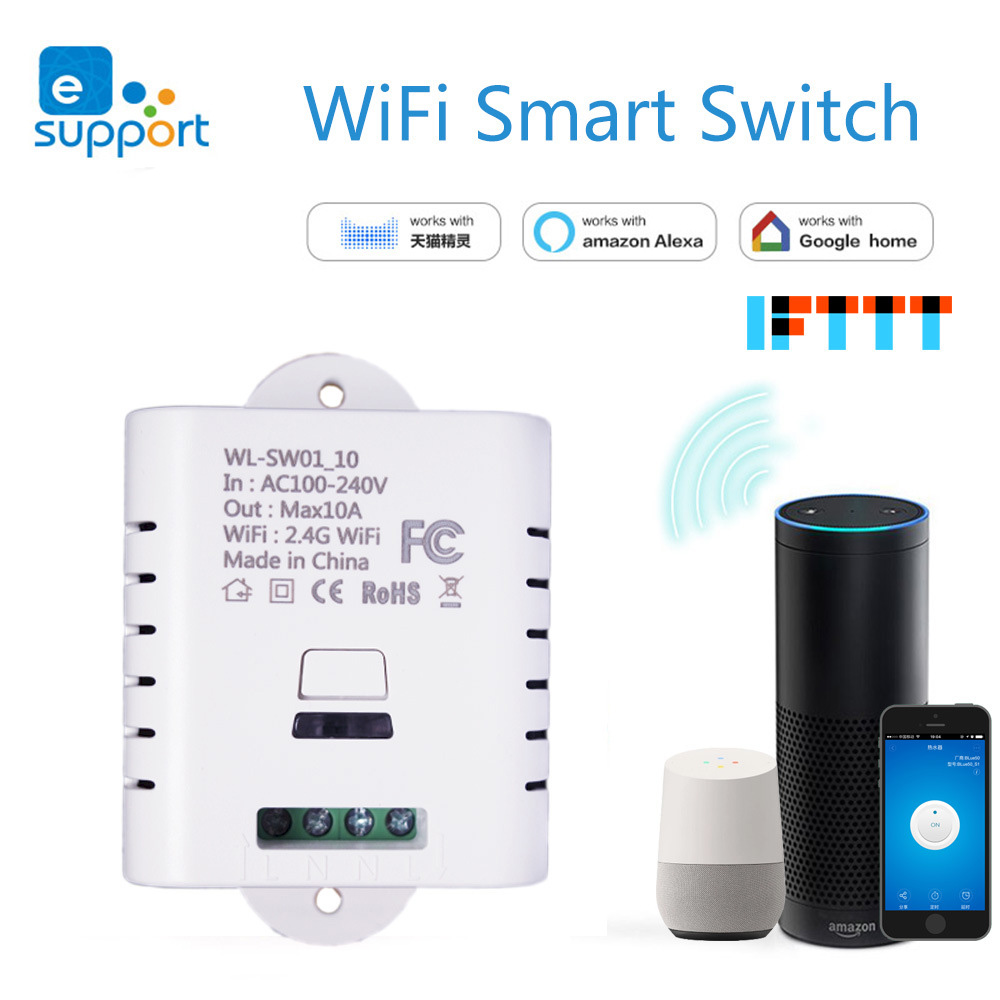 LonSonHo Smart Wifi Switch Wireless Remote control Universal DIY 10A compatiable with Alexa google home smart home modules