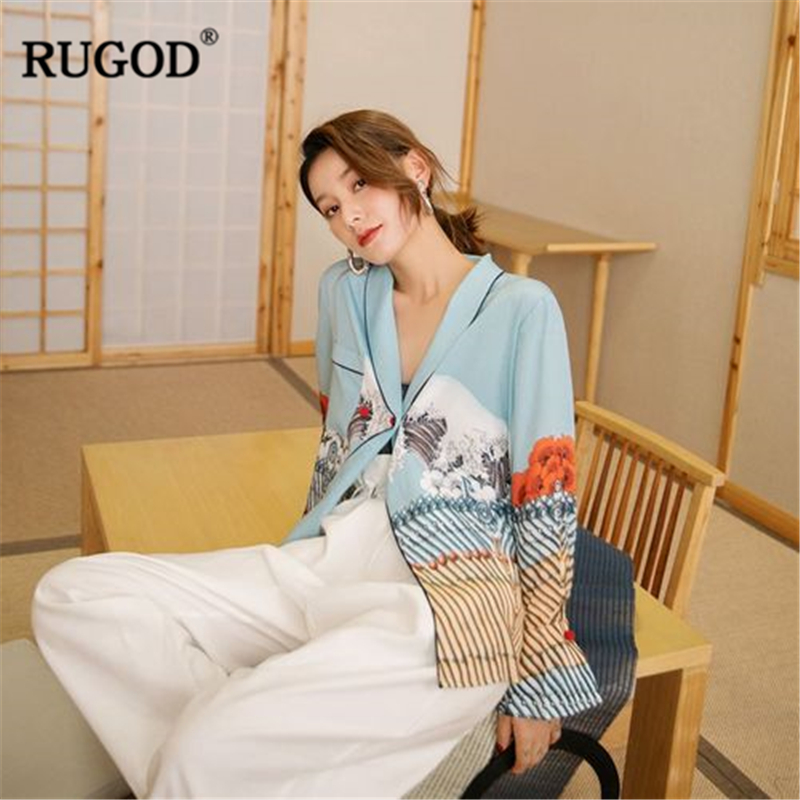 Estampado Harajuku Manga Blusa Camisa Sky Blue Oficina Rugod Camisetas Satén Casual Moda Larga Tops De Otoño 2018 Mujer 14v06t