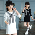 2016 nova Outono Crianças Encabeça roupas Crianças Roupas Crianças Adolescentes Grandes meninas de manga Comprida T-shirt Camisa de algodão para 4-12 anos