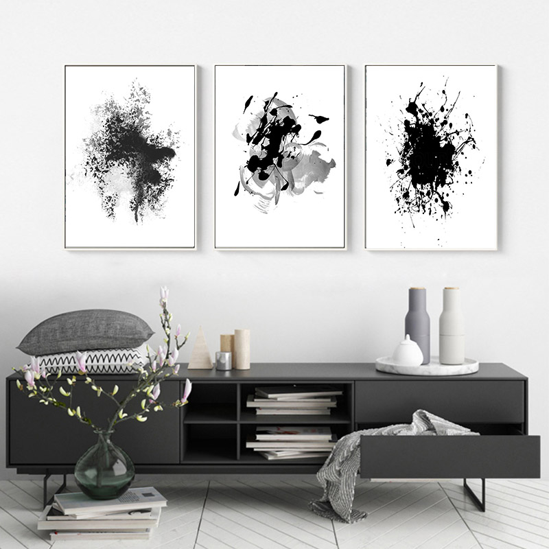 Black And White Artwork For Bedroom: Black White Posters Abstract Ink Wash Canvas Painting