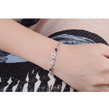 TJP Charm 925 Sterling Silver Women Bracelets Jewelry Top Quality Crystal Purple LOVE Girl Bangles Lady Party Bijou