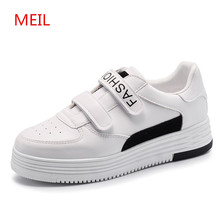 MEIL 2018 Casual Shoes Women Platform Creepers Pu Leather flat shoes women Breathable White ladies sneakers