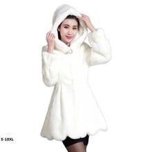 2016 new 65-85 cm long, plus size plus size women 6XL artificial economic winter mink fur coat Hooded Faux Fur Coat Luxury plus size asymmetrical hooded coat
