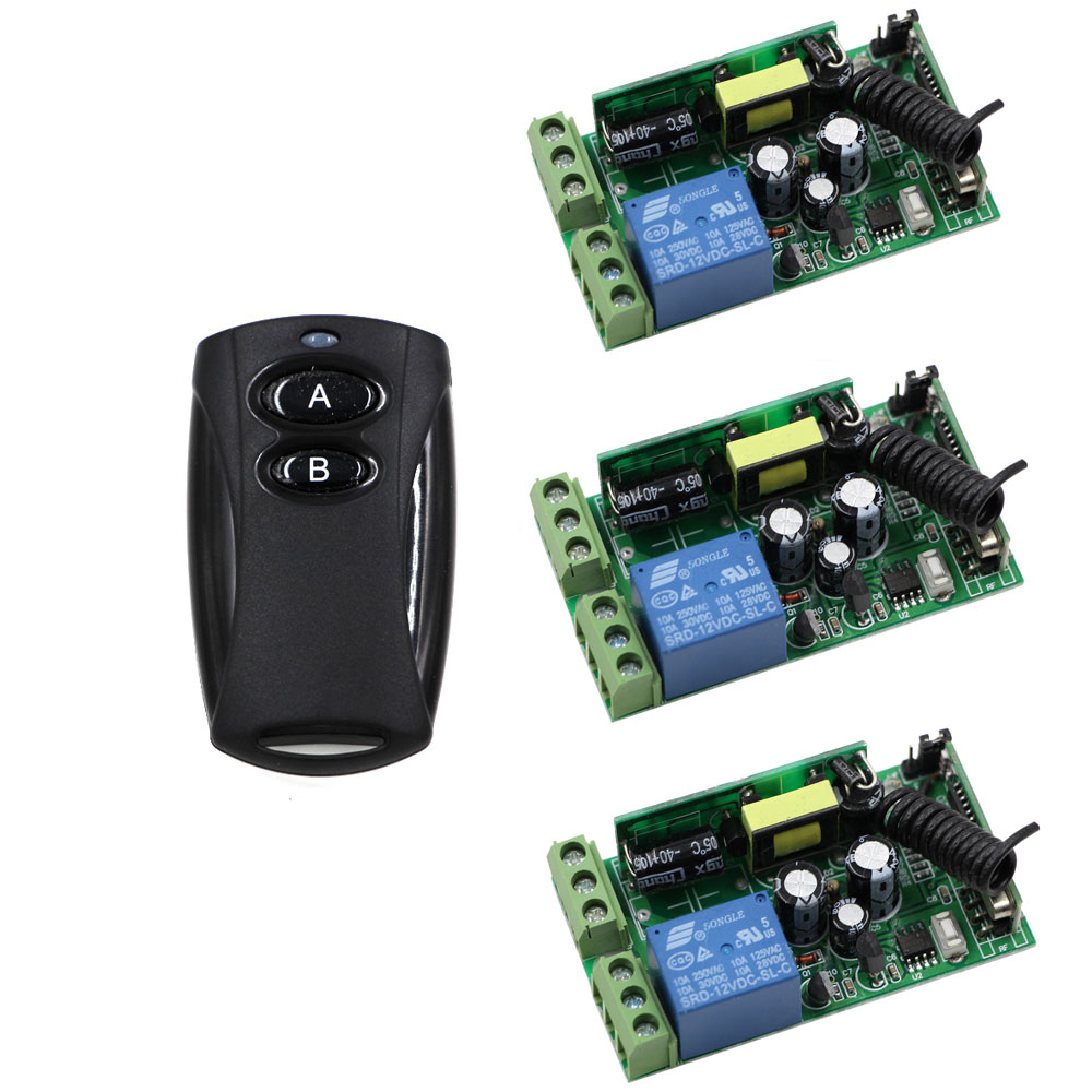 New AC85V 110V 120V 220V 250V 1CH Wireless Remote Control Switch Radio Relay Transmitter with 3 Receiver Compatible 315mhz