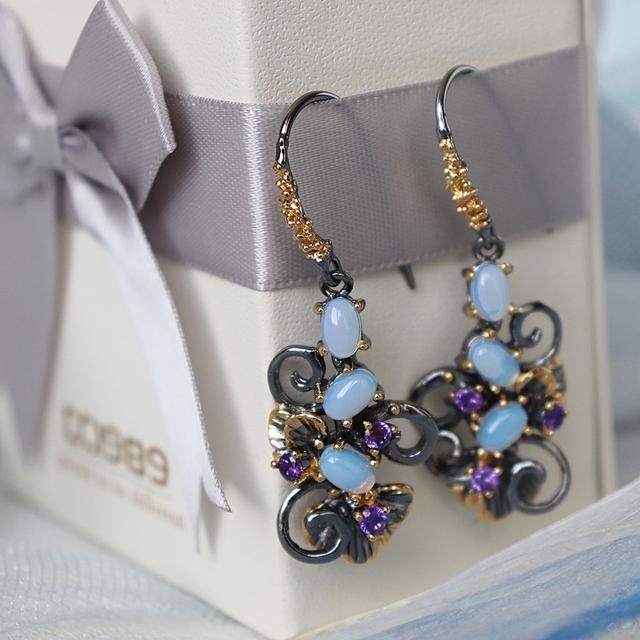 Vintage Styled Floral Hook Earrings