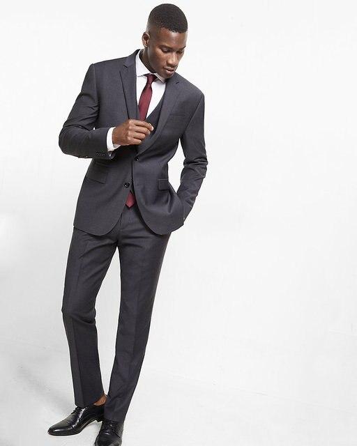 e5d6b4621c5 2017 Latest Coat Pant Designs Dark Grey Men Suit Slim Fit Skinny 3 Piece  Custom Blazer Groom Suits Simple Tuxedo Terno Masculino