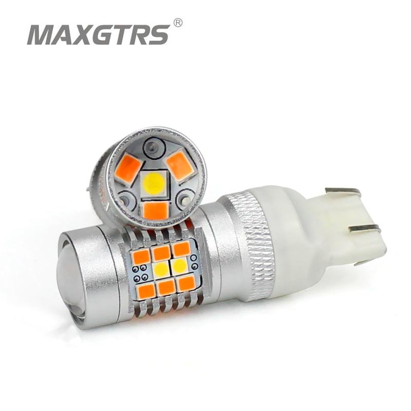 купить MAXGTRS 2x T20 7443 W21/5W 28SMD 2835 LED Super Bright White Amber Dual Color Switchback LED DRL Turn Signal Light Bulbs онлайн