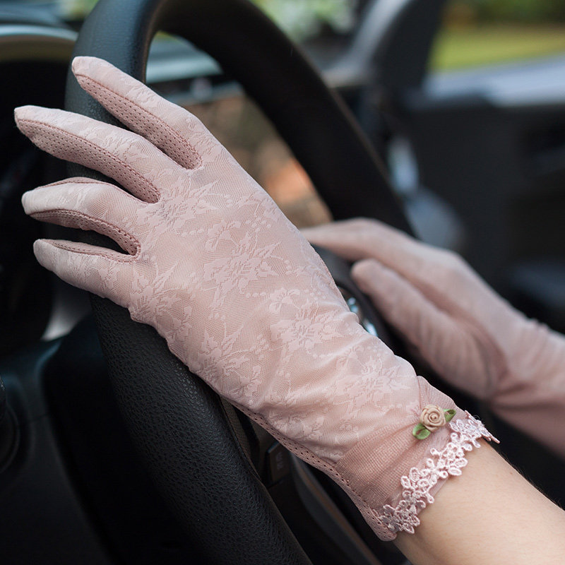 Summer Sun-Protection Gloves Female Thin Driving Non-Slip UV Protection Short Style Lace Ice Silk Woman Mittens FS01