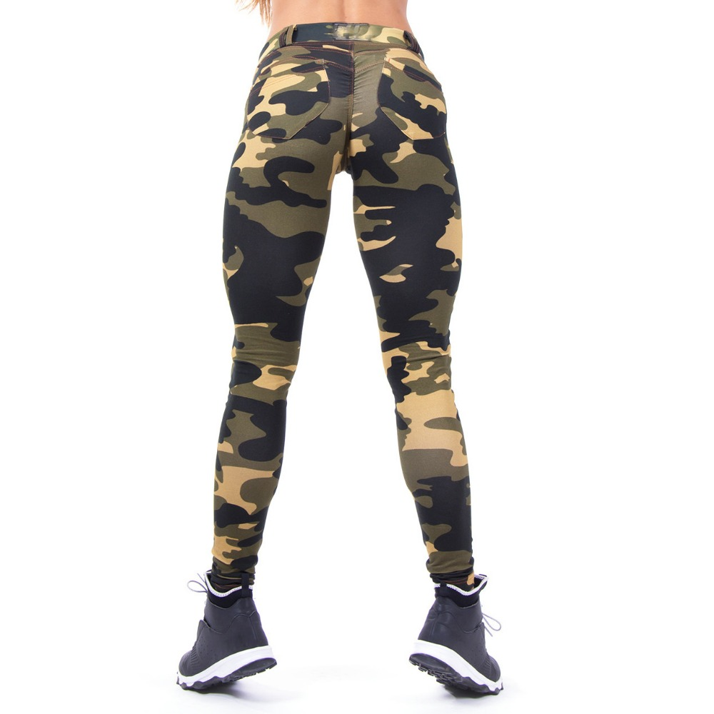 Printed Fitness Women   Leggings   Sexy Casual Camouflage Printed High Waist   Leggings   Polyester Large Size Exercise   Leggings