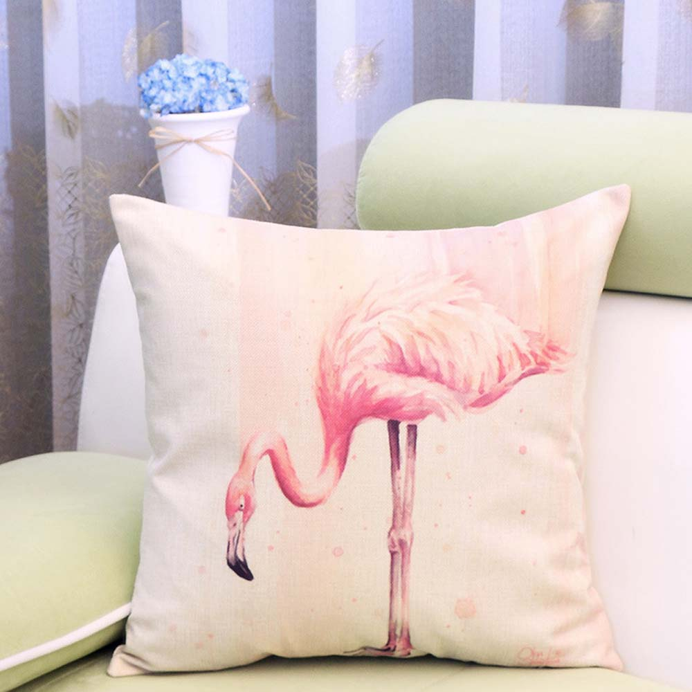 Flamingos Animal Cushion Cover Cotton Linen Decorative Pillowcase Chair Seat Waist Square Pillow Cover Home Textile 45x45cm