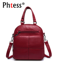 2018 Multifunction Women Leather Backpacks Sac A Dos Female School Shoulder Bags For Teenage Girls Travel