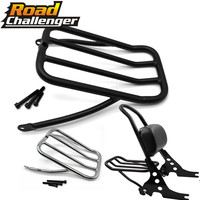 For Harley Sportster Iron 883 XL883N 2009 2017 48 XL1200X 72 XL1200V 12 16 Sissy Bar Backrest Luggage Solo Shelf Frame Rack