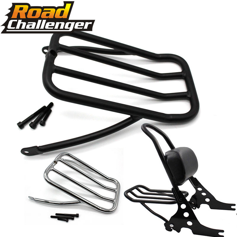 For Harley Sportster Iron 883 XL883N 2009 2017 48 XL1200X 72 XL1200V 12 16 Sissy Bar Backrest Luggage Solo Shelf Frame Rack
