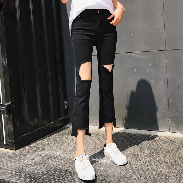 2bfa0ec876a ladies sexy ripped jeans summer 2018 fashion distressed broken hole casual  stretch black denim cropped flare jeans pants women