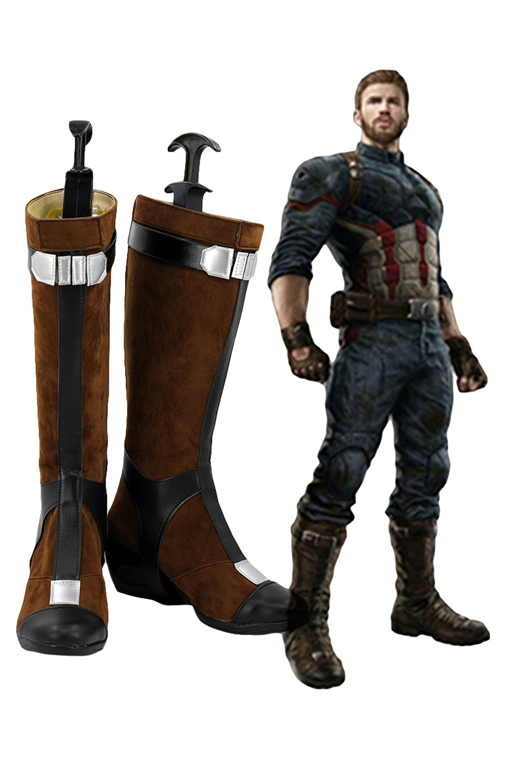 Captain America Boots The Avengers: Infinity War Captain America Cosplay Shoes Boots Halloween Custom Made Male and Female