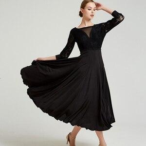 Image 4 - Ballroom Dance Dress Modern Dance Ribbon Long Sleeve Long Length Dress Flamenco Rumba Samba Waltz Dress Standard Practice