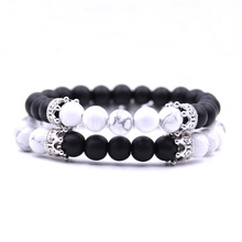 2pcs/set New Natural Stone Crown Beads Couple Bracelet Set For Women Men Charm Distance Bracelets Jewelry