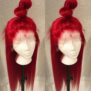 Image 5 - Bombshell Red Long Straight Synthetic Hand Tied Lace Front Wigs Glueless Heat Resistant Fiber Hair Natural Hairline For Women