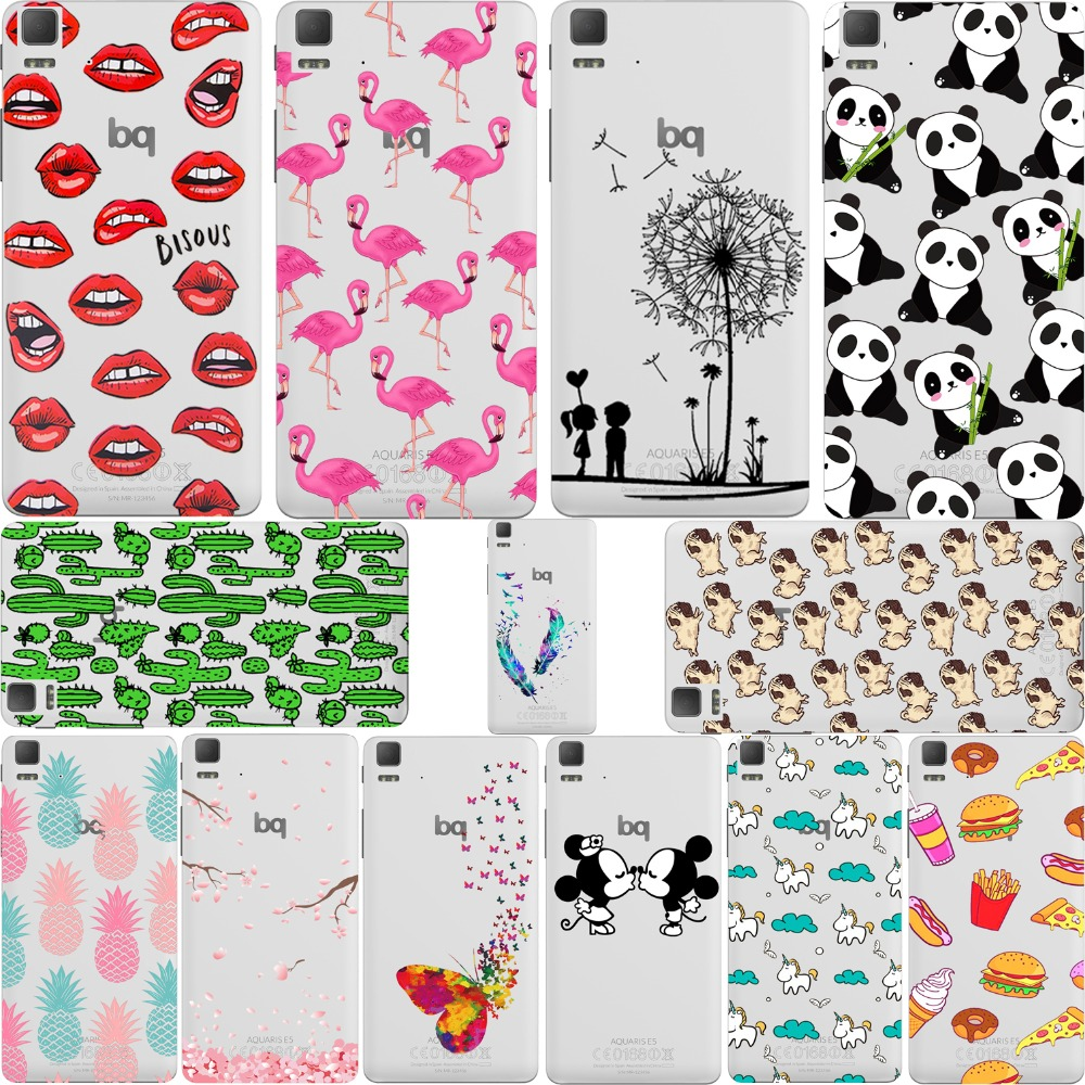 Panda Kiss Lips Mickey&Minnie Pineapple Unicorn Flamingo for Bq Aquaris E5 E4.5 X5 M5 M5.5 Soft Silicone Transparent Case Cover