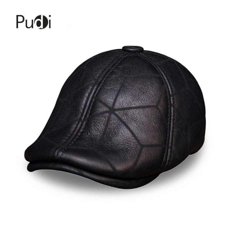 HL113 casquette de baseball en cuir véritable chapeau hiver chaud russe vieux hommes béret gavroche oreille rabat chapeaux avec vraie fourrure de laine à l'intérieur