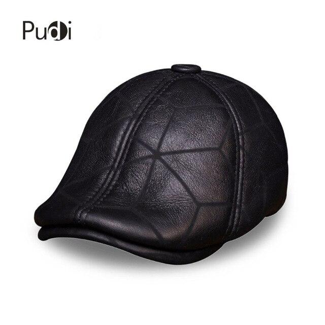 HL113 real couro boné de beisebol chapéu morno do inverno Russo homens  velhos boina jornaleiro Aba 4427a2ce63e