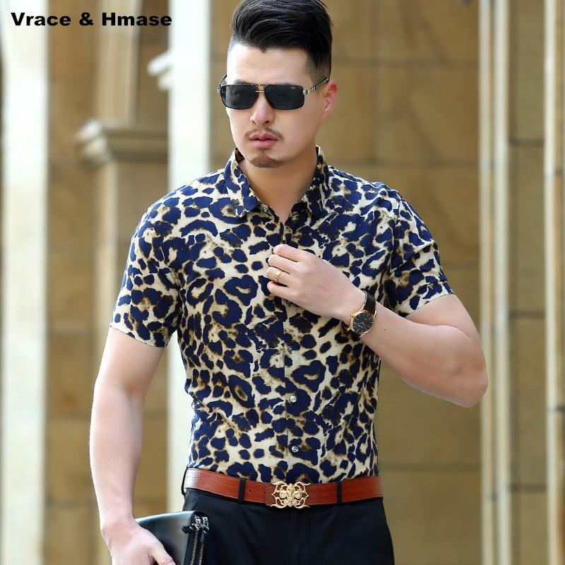 European and American style leopard printing fashion trend men shirt Summer new arrival cotton silk short sleeve shirt M-XXXL