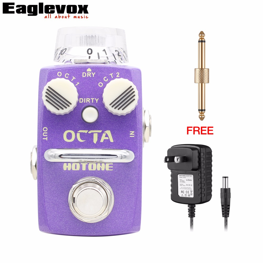 Hotone Octa Digital Octave Guitar Effect Pedal Electric Guitar Bass Effects True Bypass with Free Power Adapter and Connector mooer blade boost guitar effect pedal electric guitar effects true bypass with free connector and footswitch topper