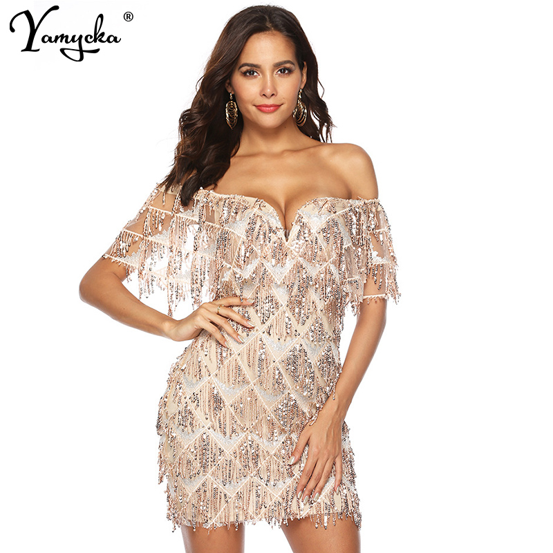 Sexy Bling Sequins summer dress wome luxury Night club Party dresses  elegant gold Off Shoulder bodycon a0a6e50fc5f8