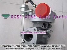 Free Ship CT12B 17201-67010 17201-67040 Turbo Turbocharger For TOYOTA HI-LUX 4 Runner Prado Landcruiser 1KZTE 1KZ-TE KNZ130 3.0L