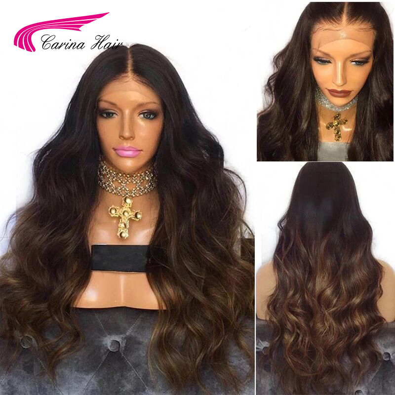 Carina Ombre Color Brazilian Body Wave Wig with Baby Hair Lace Front Wigs with Pre plucked