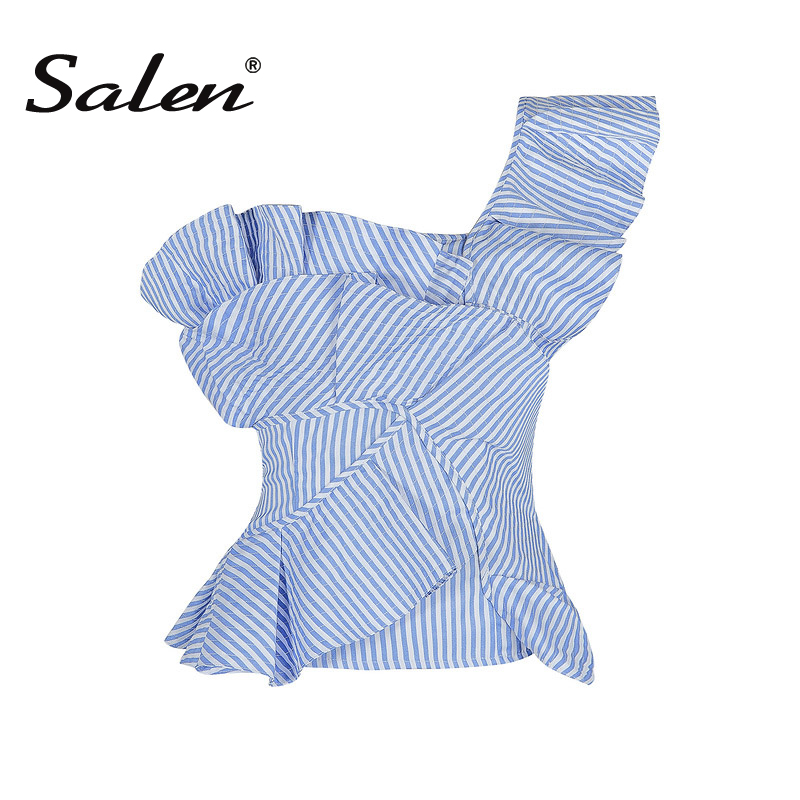 Salen Sexy Casual One Shoulder Backless Ruffles Short Strapless Striped Summer Women's Lady   Tank     Top   2017 New Arrival