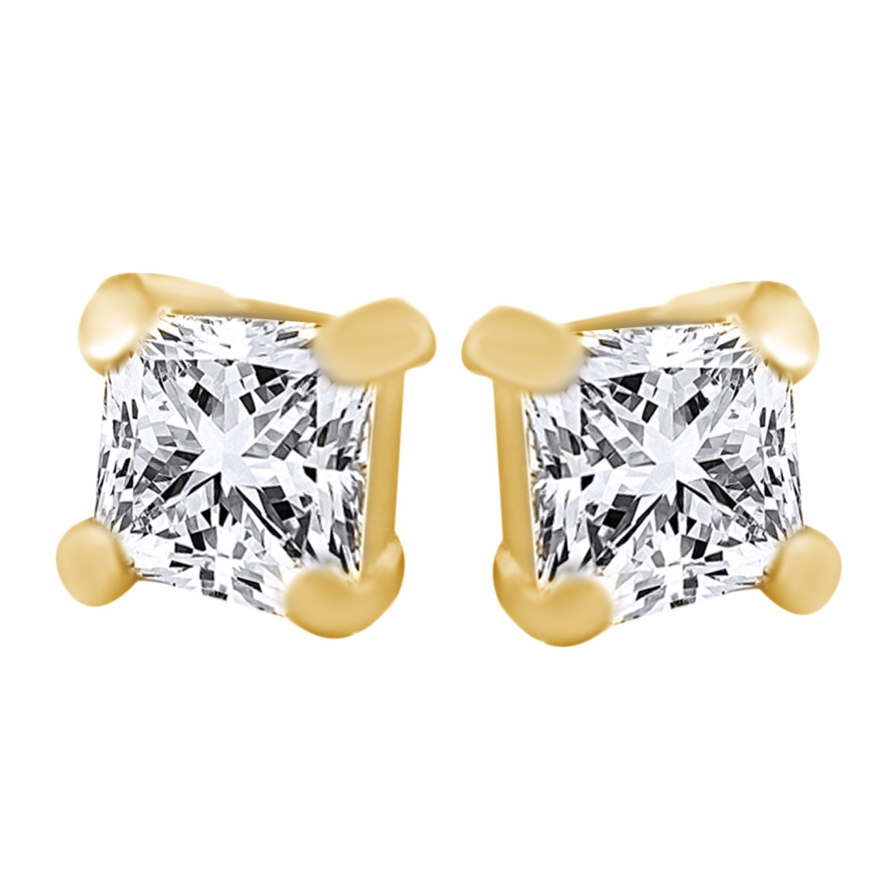 Square Princess cut 18k yellow gold Over crystal square stud earrings tiny yoursfs 18k white gold plated austria crystal soliraire anniverary rings with princess cut