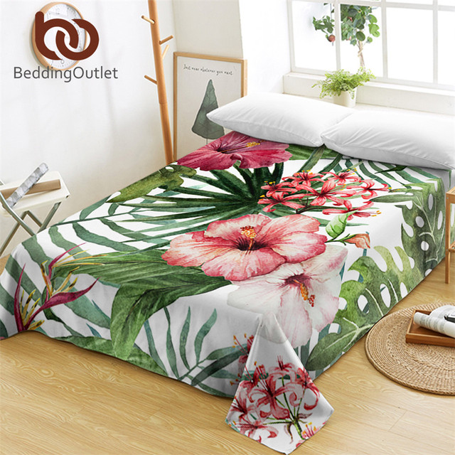 Beddingoutlet Flowers Bed Sheets For S Leaves Flat Sheet Tropical Plants Linen Red Green White Bedspreads One Piece