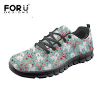 FORUDESIGNS Cute Bichon Frise Flower Floral Print Women Casual Flat Shoes Ladies Lightweight Summer Sneakers Student Girls Flats