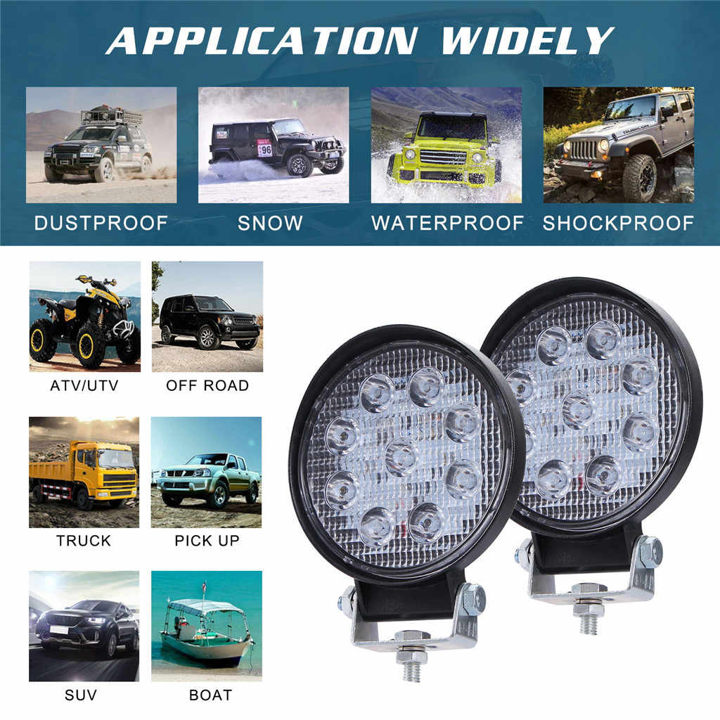 LED Work Light Pods 4 Inch 90W Round Spot Beam Offroad Driving Light Bar 10000LM 6000K Spot Flood LED Light Bar LED Work Light