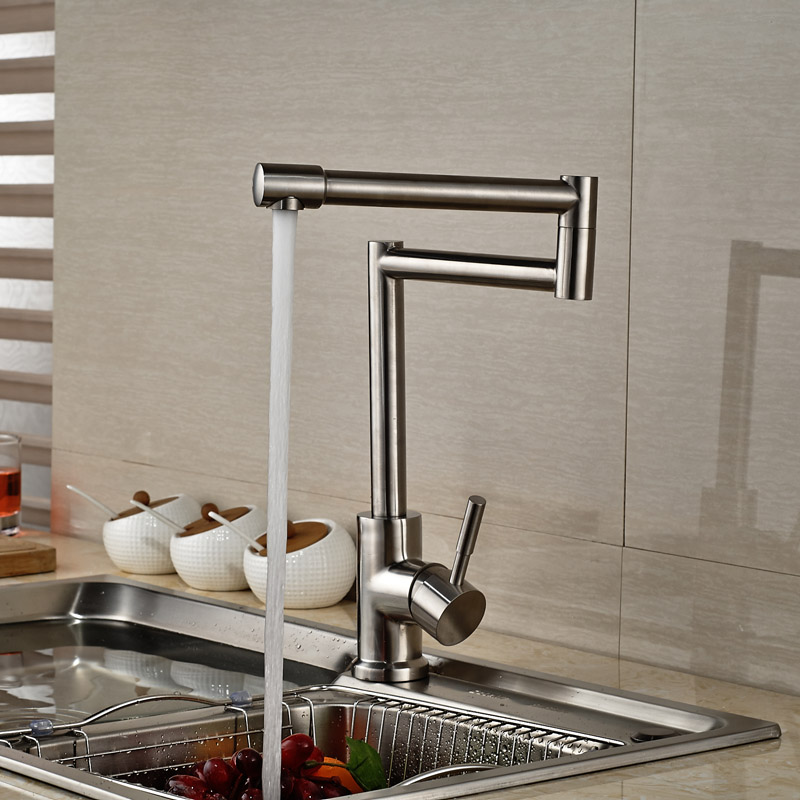 Deck Mount Folding stretch Neck Kitchen Mixers Faucet Single Handle Brushed Nickel Finish