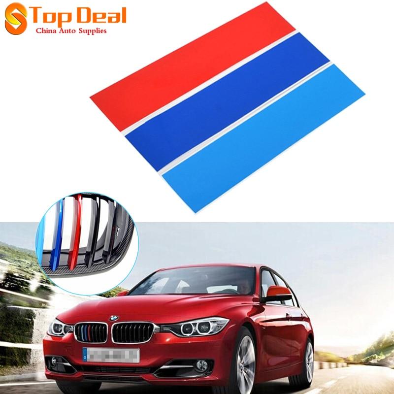 Hot Sale 4pcs/set Carbon Fiber front Grill Stripes decals M power sport stickers for BMW M3 M5 M6 E46 E39 E60 E90