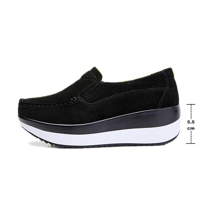 DONGNANFENG vrouwen Vrouw Vrouwelijke Dames Koe Suede Lederen Schoenen Flats Loafers Platform Mocassins Elegante Slip Op PX-3213