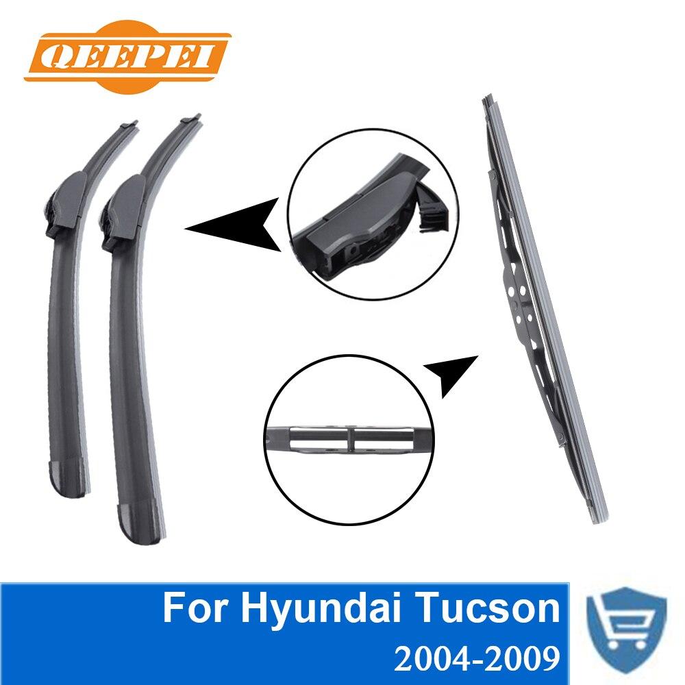 QEEPEI Avant et Arrière Lame D'essuie-Glace sans Bras Pour Hyundai Tucson 2004-2009 Haute qualité Naturel Caoutchouc pare-brise 23 ''+ 16''