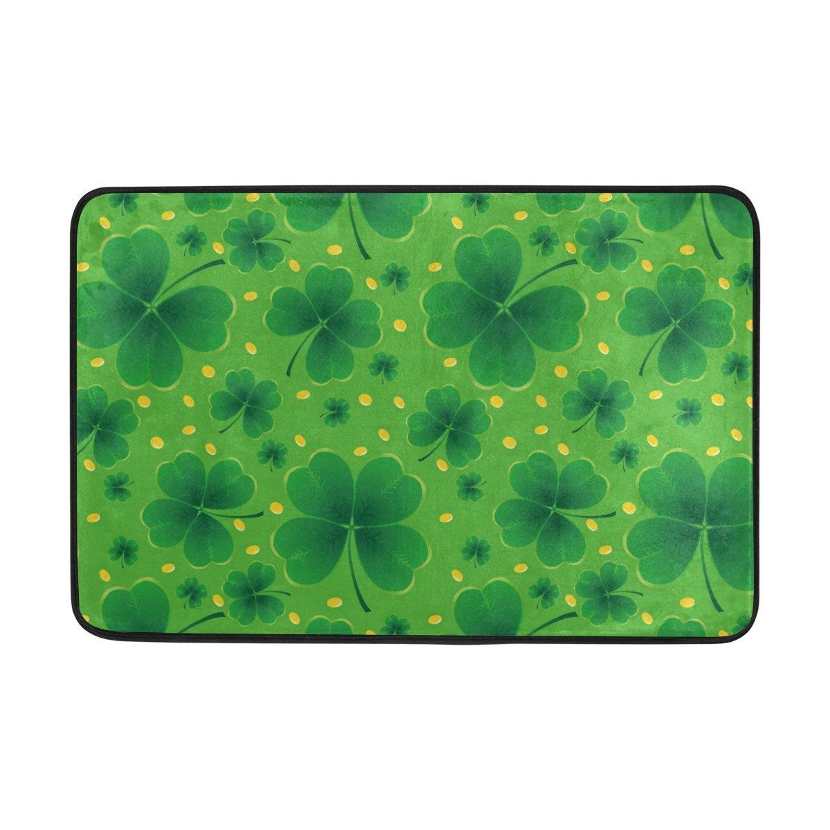 Saint Patricks Day Shower Curtain and Mat Set, Lucky Clover Spring Green Leaf Waterproof Fabric Bathroom Curtain