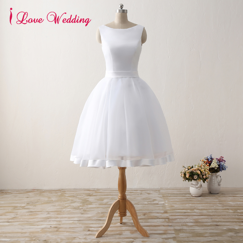 Elegant Short Wedding Dresses 2019 White Organza Satin Knee-Length Bridal Gowns Scoop A Line Wedding Party Dress With Bow