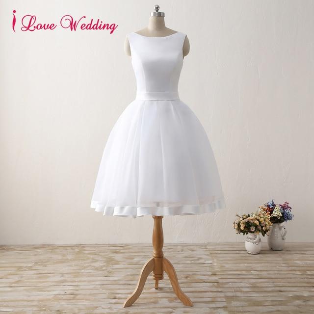 Elegant Short Wedding Dresses 2017 White Tulle Satin Knee Length ...