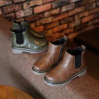 Winter Boots Children's Shoes Boys Girls Martin Boots Ankle Size Zip Unisex Plush Flat Platform Camel Green Fashion Kids Booties