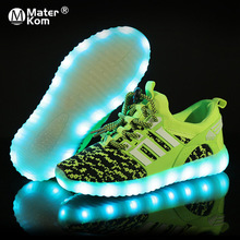 Size 25-37 Children LED Shoes for Boys Girls USB Charger Sch